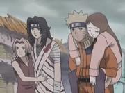 Naruto y el resto de sus compañeros llega a la supuesta aldea destruida