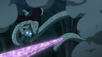 Sasuke pins Kabuto down