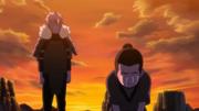 Kosuke con Tobirama llorando la muerte de sus compañeros