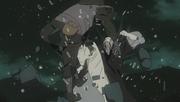 Obito golpea a un ninja de Kirigakure