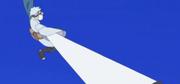 Mitsuki alargando su brazo