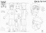 Diseño de Naruto niño comparación de su altura por Pierrot