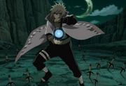 Minato usando un Rasengan y blandiendo un Kunai Dios Trueno Volador
