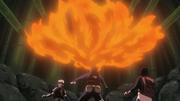 Elemento Fuego Jutsu Gran Bola de Fuego Como una constante ráfaga Anime