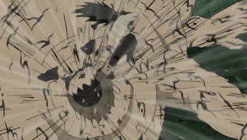 Shukaku expels a giant gust of wind towards Gaara's sand particles…