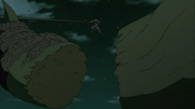Hiruzen corta una raíz del Shinju