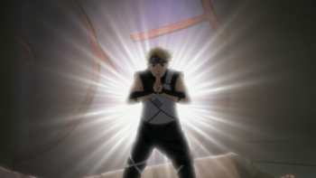 The light emanating from C in the anime.