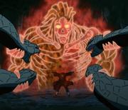Itachi utilise le Susanô contre les serpents