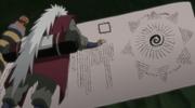 Jiraiya y el pergamino con la clave escrita