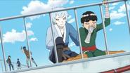 Mitsuki ajudando Metal Lee em viagem a Kirigakure