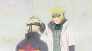Minato diciéndole sus ultimas palabras a Naruto