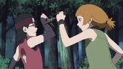 Moegi se enfrenta a Sarada