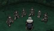 Tobirama y su equipo en la Primera Gran Guerra Ninja
