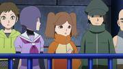 Wasabi, Sumire, Namida, Dōshu e Gen assistindo Boruto VS Kagura