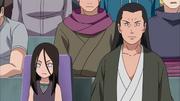 Hanabi e Hiashi assistindo a batalha