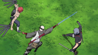 Omoi and Kankuro attack Shin