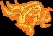Kurama com a mortalha de chakra de Naruto