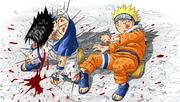 Sasuke protegendo Naruto (Mangá Colorido)