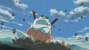 Gamahiro es invocado para aplastar al Zetsu blanco gigante