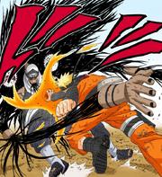 Naruto impacta Kakuzu con su Rasen Shuriken