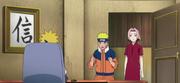 Naruto y Sakura son informados por Minato sobre Sasuke