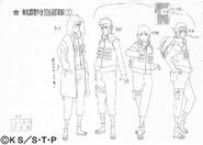 Arte Pierrot - Shino, Kiba, Hinata e Hana Guerra
