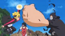 Boruto y Sarada vs Chōbee