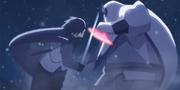 Sasuke peleando contra un Ōtsutsuki