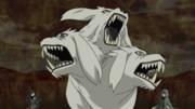 Kiba, his clone and Akamaru become a gigantic three-headed beast.