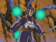 Hōki usando todas las arma de los Cuatro Hombres de los Símbolos Celestiales