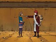 Gaara y Matsuri en su entrenamiento