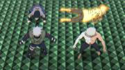 Obito se sacrifica para salvar a Naruto, Sasuke y Kakashi