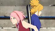 Temari et Sakura protègent les civils durant l'attaque des Ôtsutsuki