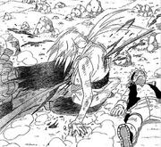 Tsunade bloqueia o ataque de Orochimaru