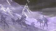Ninjas de Ame sendo mortos pelos dragões de energia