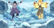 Sasuke se libera a él y a Naruto del hielo