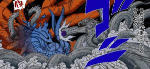 Hashirama luchando contra Madara y Kurama