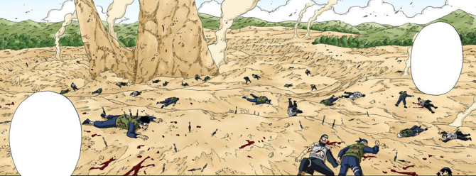 Cadáveres de ninjas en un campo de batalla