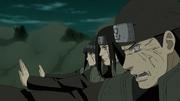 Hinata con Neji y su padre protegen a Naruto