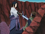 Sasuke esfaqueando Yamato