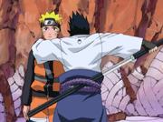 Naruto a punto de ser asesinado por Sasuke