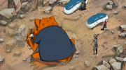 Gamakichi leva a Tsunade até Sakura