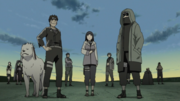 Team Kurenai awaiting to begin the second stage of the Chūnin Exams