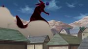 El Clon de Kurama destruyendo al Pueblo Hacho