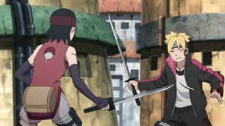 Sarada and Boruto fighting