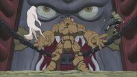 O Golem de Pedra repele Kiba e Akamaru