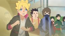 Os garotos surpresos com a invocação de Konohamaru