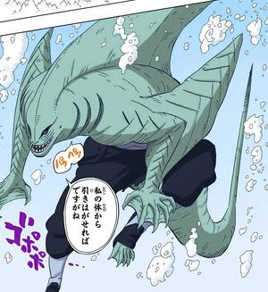 Prisión de Agua Jutsu Danza de Tiburón Manga