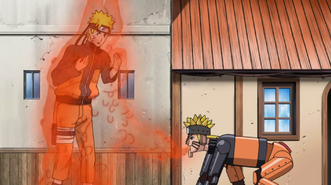 Mecha-Naruto absorbs Kyubi chakra