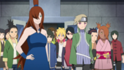 Mei, Kagura y la clase de Konoha llegan al despacho del Mizukage